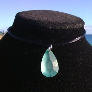 Carved Light Sea Green Sea Glass Necklace